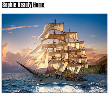 2018 New Real 5D Full Round Square Diamond Cross Stitch Sailboat&Sunshine Diamond Embroidery Warm Home Decoratio Gift 051606(China)