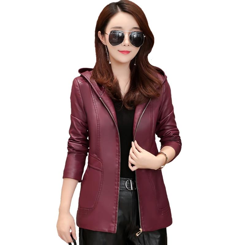 2018 New Womens Elegant Hooded Leather Jackets Ladies Slim Soft Sheepskin Leather Coat Plus Size 6XL Female Clothing Outerwear