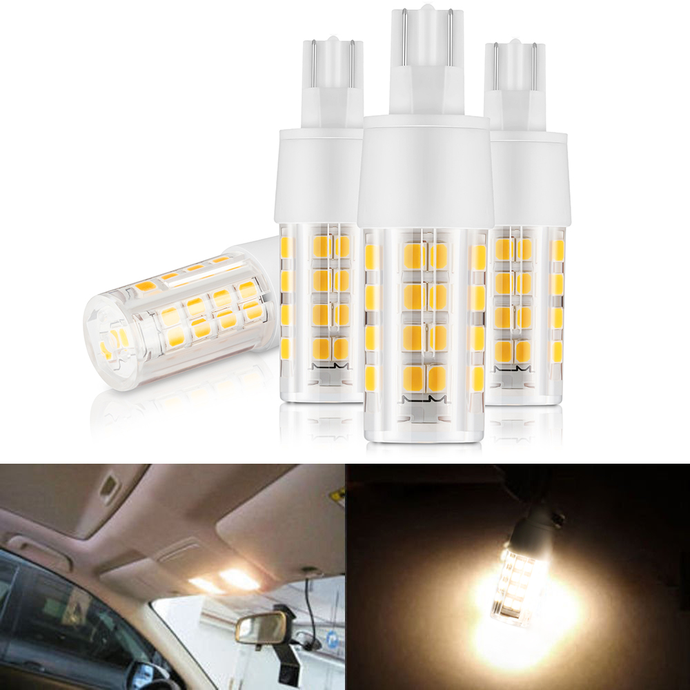 Kohree 4pcs 12v 4w Replacement Led Bulb T10/921 Base for Interior Lighting RV Camper Light with Ceramic Heat Sink Warm White