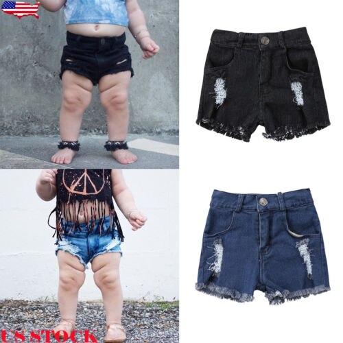 2018 Heißen Sommer Kinder Denim Shorts Baby Jungen Mädchen Holes Denim Jeans Stretch Ripped Shorts Hot Pants Blau Schwarz 1-5 T