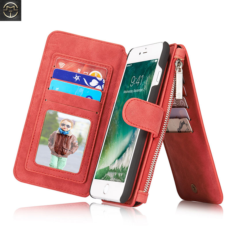Folio Kožené pouzdro pro iPhone X 8 7 6 6S Plus 5 5S SE 2IN1 Multifunkční pouzdro na zipper peněženku pro iPhone 8 Plus 7 Plus Fundas
