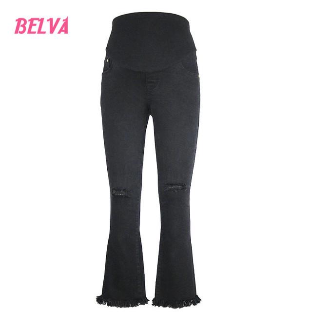 Belva 2017 Moda calça jeans Boot Cut maternidade gravidez Super stretch Calças têm uma banda barriga gravidez para segredo fit 546
