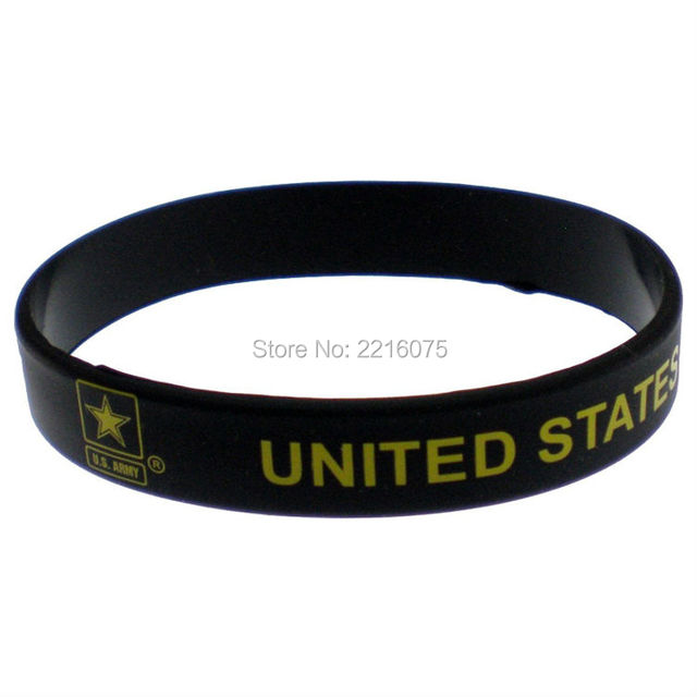 300pcs Black United States Army Star Silicone Wristband Rubber Bracelets Free Shipping By Dhl Express