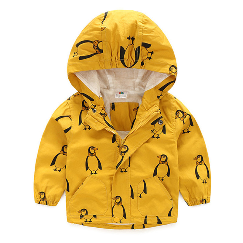 18M-6T Fashion Spring Autumn Boys Hooded Jackets Cartoon Monster & Penguin Print Outwear Good Quality Blouson Garcon CMB349 (1)