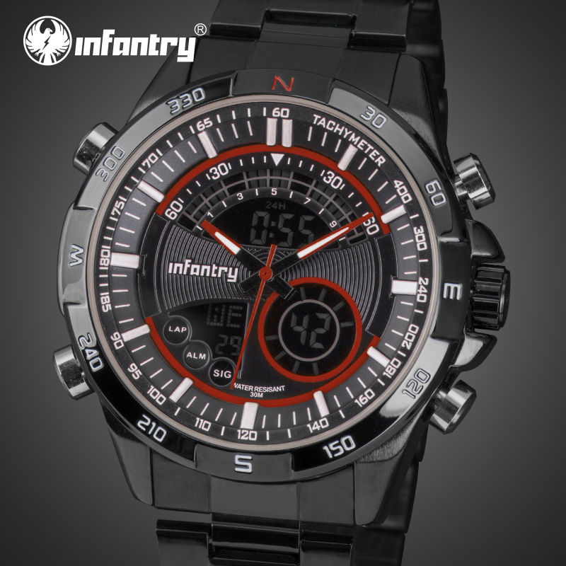 INFANTRY Digital Watches Full Steel Men Big Dial Sports Wristwatches Male Clock Relogio Masculino Chronograph Dual