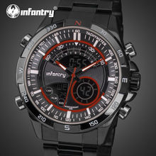 INFANTRY Sports Watches Men LED Digital Dual Time Zones Display Wristwatches Stainless Steel Alarm Clock Relojes Hombre Hot Sale