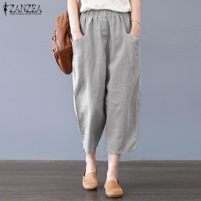 ZANZEA Women Elastic Waist Pockets Solid Harem Pants Cotton Linen Loose Casual Trousers Elegant Work Office Pantalon Plus Size