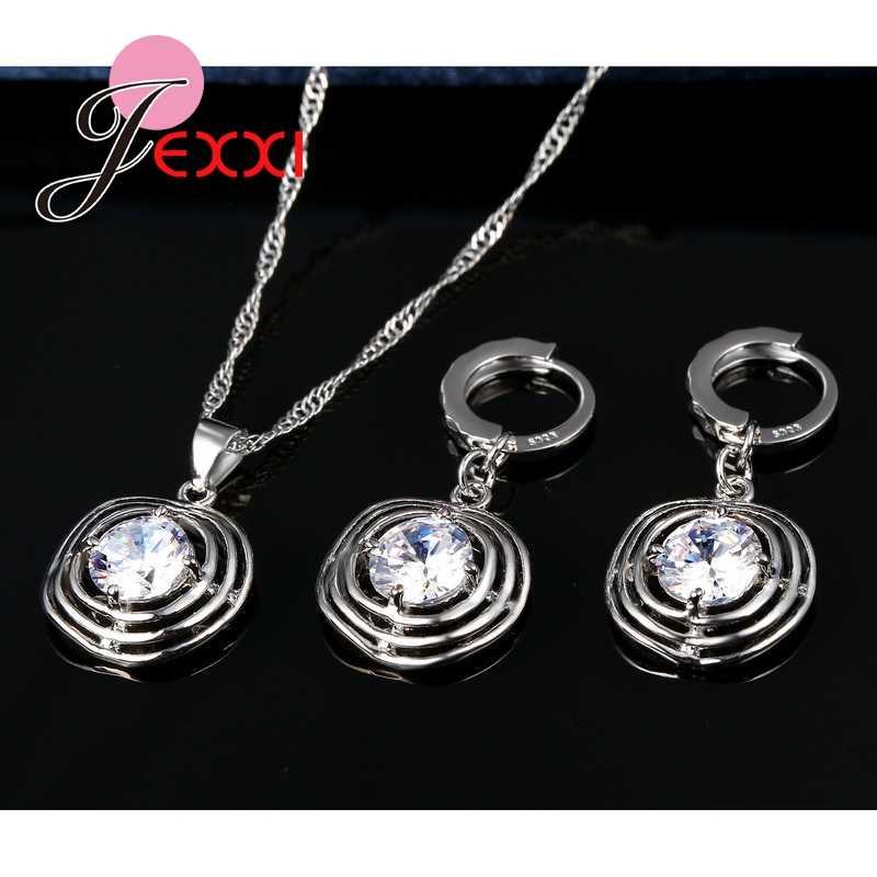 Top Qualität Mädchen Zubehör 925 Sterling Silber Hohl Kreis Kristall Halskette Ohrringe Lustige Frauen Schmuck Sets