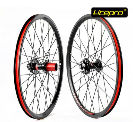 New Litepro K-fun 20 inch 406 Disc Brake Wheels Folding Bike Wheelset BMX 20inch Wheels BMX Parts litepro u7 450mm folding bike 20inch bmx forks aluminum bike fork 100mm disc brake for sp8 kac083