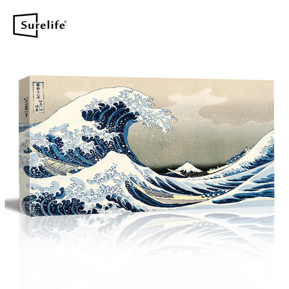 Great Wave of Kanagawa Katsushika Hokusai Giclee Canvas Prints Wall Art Abstract Seascape Pictures Paintings Stretched Frame