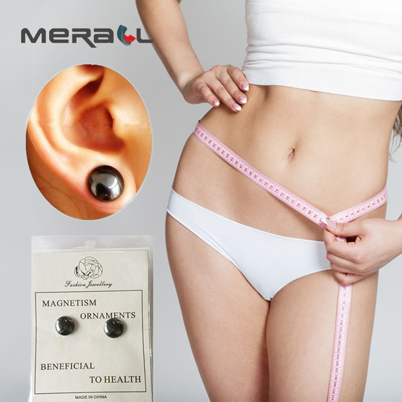 1pair Black Magnet Earrings Anti Cellulite Weight Loss Body Fat Reduce