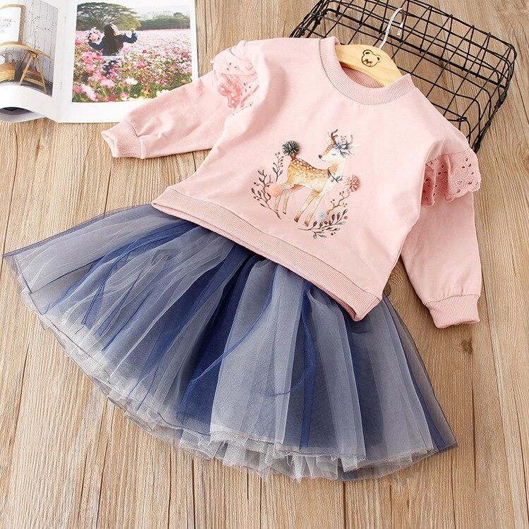 2018 Girls Dress Sets Autumn Girl Dress Suit Long Sleeve Printed Cute Deer Design Top + Mesh Princess Dress 2pc Children Clothes printed long sleeve christmas mini swing dress