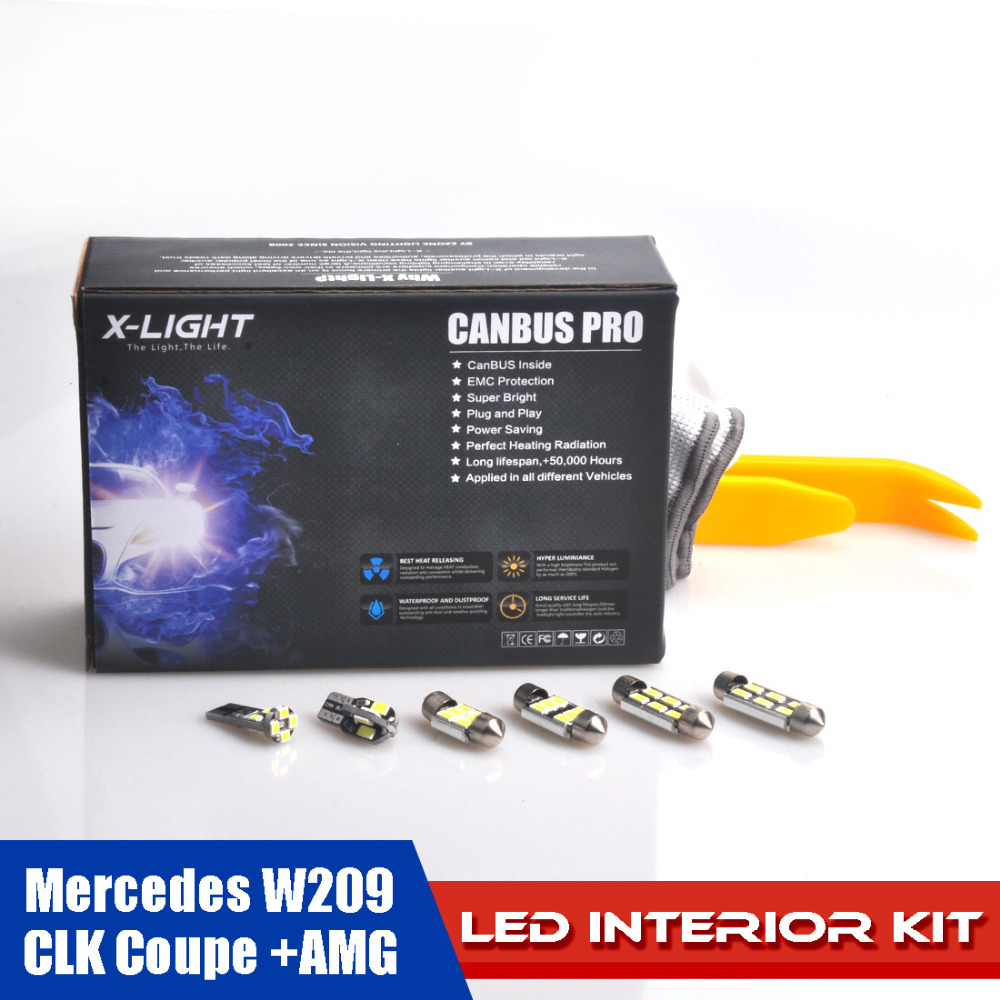 14pcs Error Free Xenon White Premium LED Interior Map Trunk Light Kit for Mercedes W209 CLK Coupe +AMG + Installation Tools carprie super drop ship new 2 x canbus error free white t10 5 smd 5050 w5w 194 16 interior led bulbs mar713