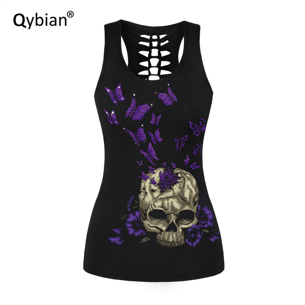 womens   Tank     Tops   cool Summer sleeveless T-shirt casual Back hollow out   Tanks   Purple Butterfly Skull printed