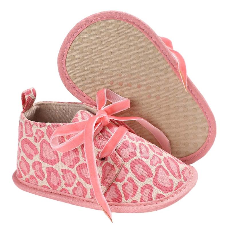 2017 New Infant Baby Boy Girls Shoes Soft Sole Pram Shoes Leopard Bowknot Newborn Baby Anti-Slip First Walkers Shoes 0-18M