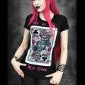 Camiseta de Las Mujeres de Los Hombres 3D Impreso Ronda de Manga Corta Del O-cuello Negro tatuaje camiseta del algodón diseño evil cat tattoo poker moda de las mujeres