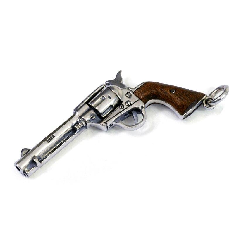 Pur 925 argent Sterling colliers pistolet charmes Punk pendentifs pour hommes et femmes Thai argent chaîne Fine noël 1271