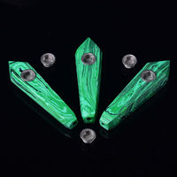 10pc Top Natural Malachite Quartz Crystal Smoking Pipe Tobacco Wand Cigarette Healing