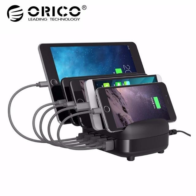 ORICO 5 портов USB Зарядное устройство Док-станция с держателем 40 Вт 5V2. 4A * 5 usb зарядка для смартфона планшетный ПК применение для дома публичный