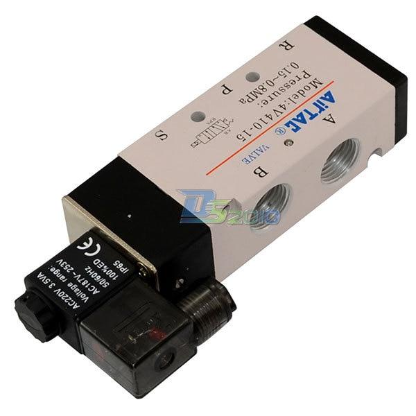 Good Quality 1/2 AC 24V 5 way 2 position Pneumatic Electric Solenoid Valve NPT Air Aluminum