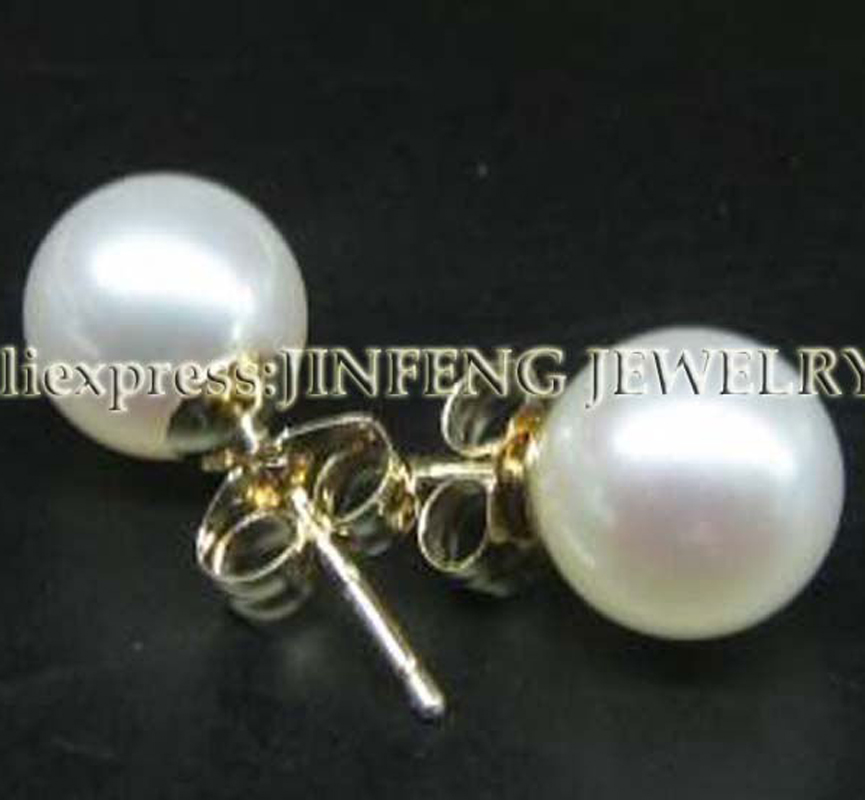 AAA 8-8.5mm round pearl yellow gold stud earring free P&PAAA 8-8.5mm round pearl yellow gold stud earring free P&P