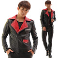 male costume S-XXXL size Rivet mosaic Leather jacket blazer prom show bar party for singer dancer star nightclub performance