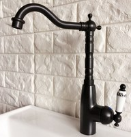 Caño giratorio grifo de agua aceite frotado bronce negro sola manija agujero fregadero de la cocina y cuarto de baño grifo lavabo grifo mezclador anf372