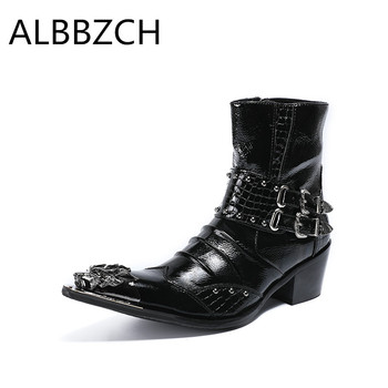 Mens fashion patchwork luxury metal pointed toe patent leather boots men western cowboy ankle boots high top wedding dress shoes