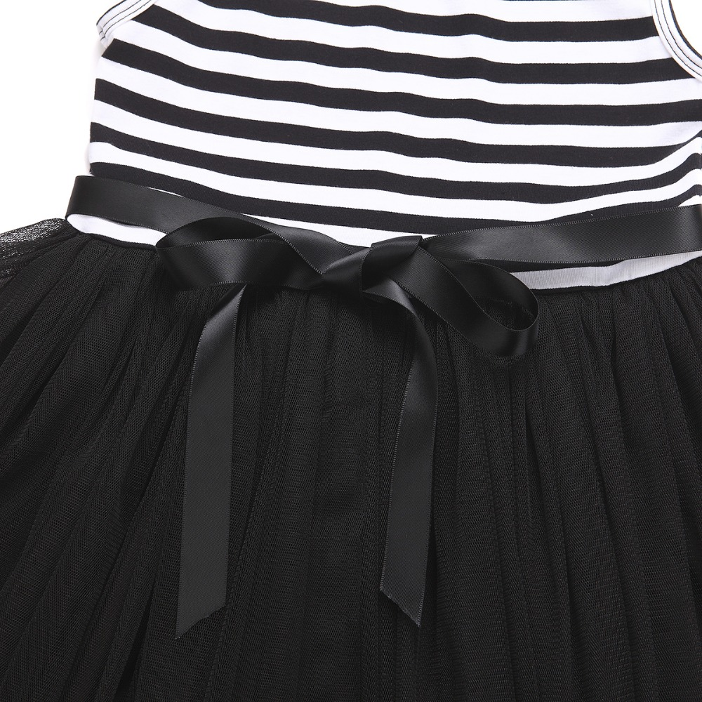 HTB1o.cnQVXXXXbhapXXq6xXFXXXu - Baby Girls Dress 2017 Summer Casual Striped Princess Dresses sleeveless Black and White Stripes Mesh Dress Children Clothing