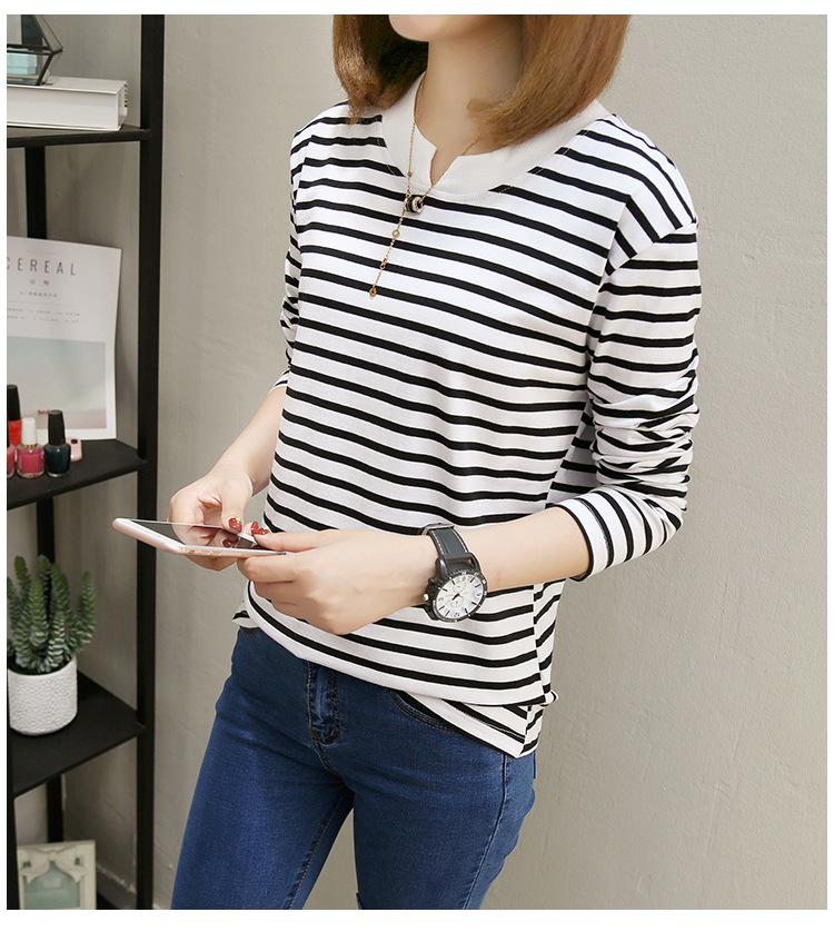 NFIVE Brand 2017 Women's Stripe Loose T-shirts Korean Autumn New Long Sleeved Large Size Shirt Quality Fashion Cotton T-shirt 23