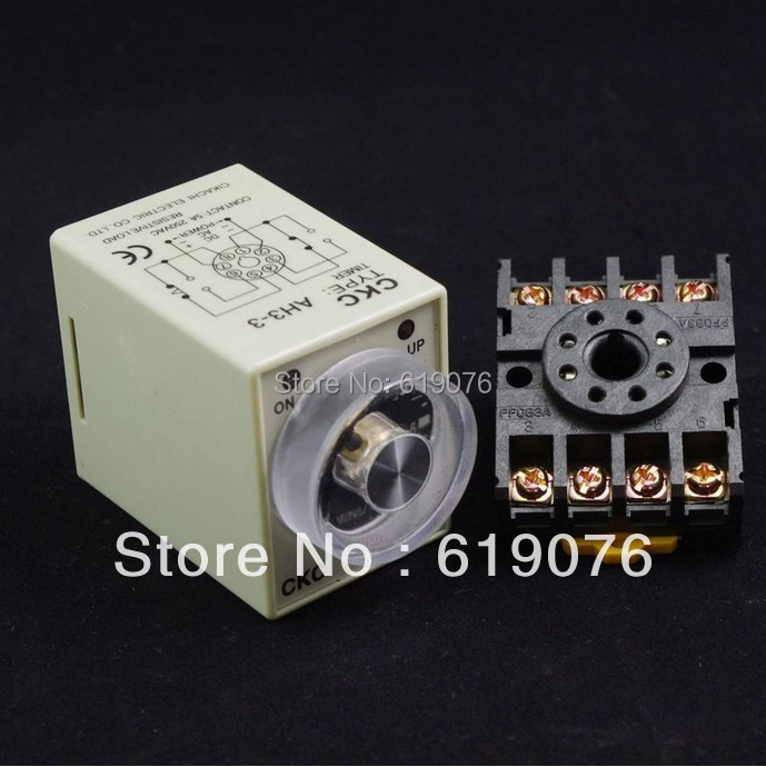 0-10 second  AH3-3 Power on delay timer relay with PF083A Socket Base Please tell us the voltage you need high quality 10pcs 8 pin power timer relay socket base holder pf083a for mk2p i dh48s