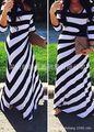 2016 Новая Мода Три Четверти Рукав Полосатом Платье Моды Большие Качели Длинный Отрезок Платье Хип класса Вскользь Макси-Платье