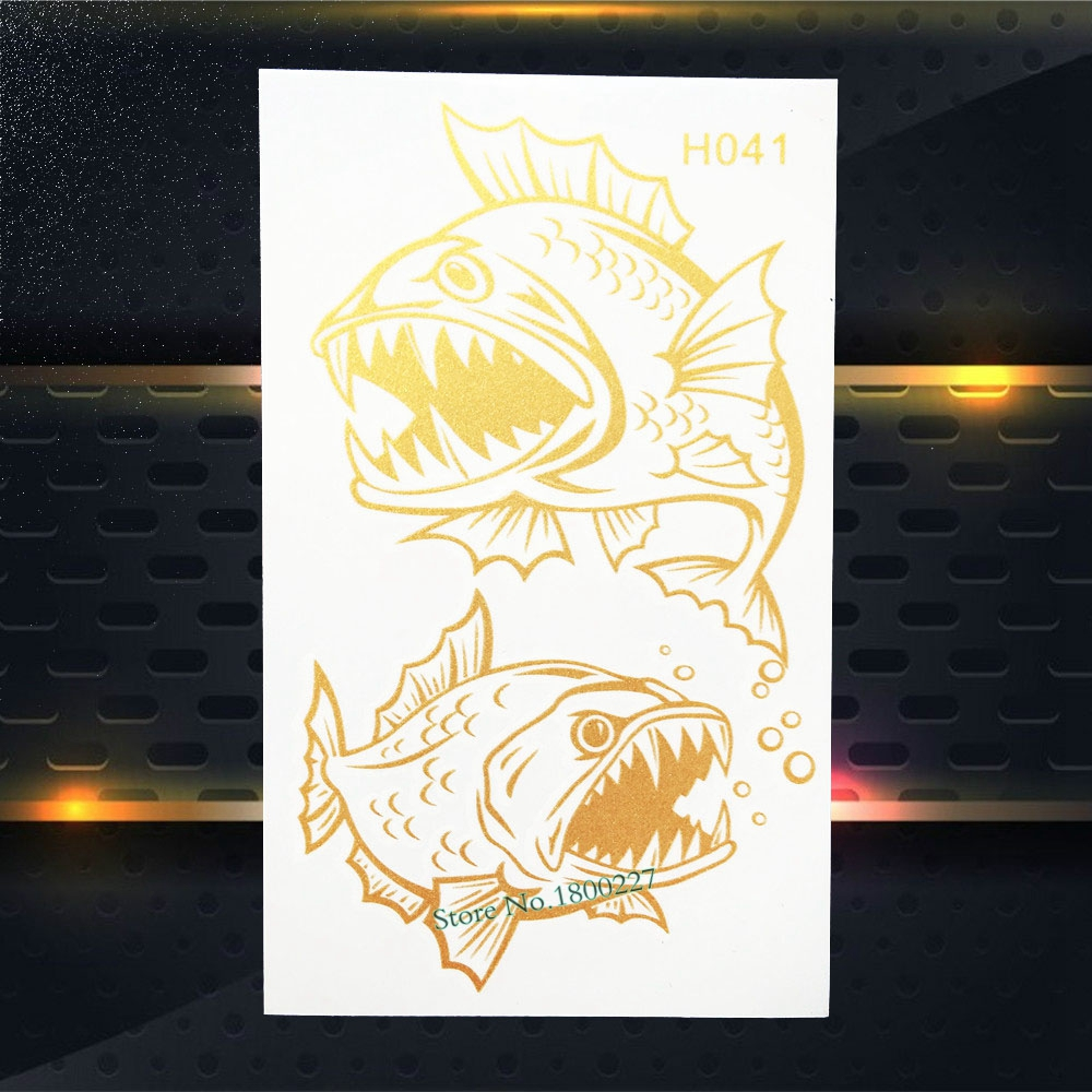 27200f91b003e 1PC Piranha Fish Sharp Teeth Temporary Tattoo Gold Metallic Sticker For Men  Women Body Art Waterproof Flash Tattoo Sticker PGH41