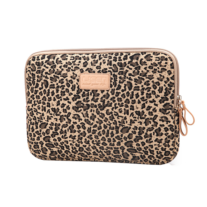 LISEN Leopard Canvas Fabric Sleeve Case Bag Notebook laptop sleeve 8/9/10/11/12/13/14/15 Inch for MacBook Air Pro Lenovo Dell HP