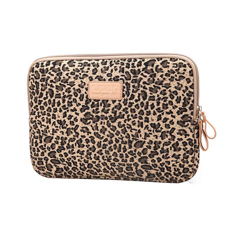 Lisen leopardo tecido de lona luva caso saco notebook portátil manga 8/9/10/11/12/13/14/15 Polegada para macbook pro lenovo dell hp