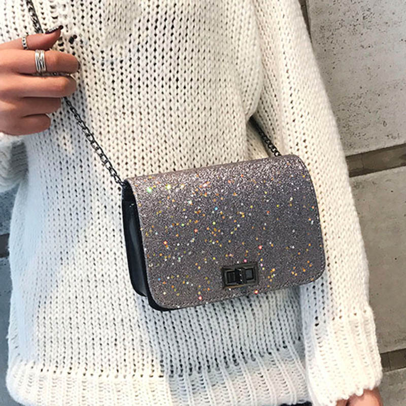 1 Pcs Women Shoulder Crossbody Bag Sequin Chain Fashion For Mobile Phone Party MUG88