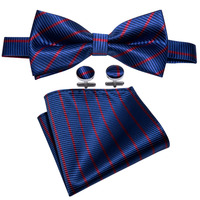 Blue Striped Men's Bowtie For Business Barry.Wang 100% Silk Butterfly Hankerchief Dropshipping Bow Ties For Men Wedding LH-825