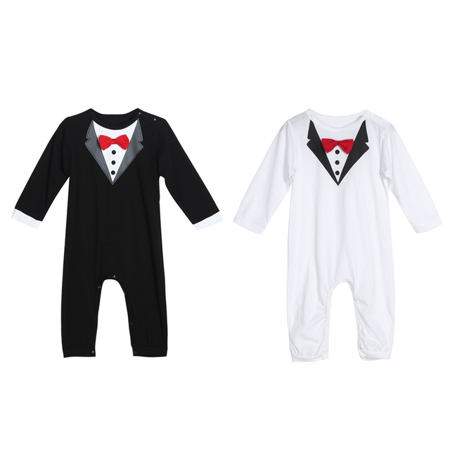 Toddler Handsome Baby Pompers Cool Boy Clothes Baby Long Sleeve Suit Infant Jumpsuit GentlemenBlack Bowknot Rompers Formal Suit 3