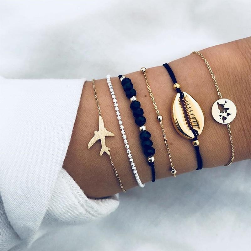 6 Teile/satz Persönlichkeit Flugzeug Shell Karte Bead Kette Leder Multilayer Geflochtenes Armband Feminine Charme Einzigartige Armband Set