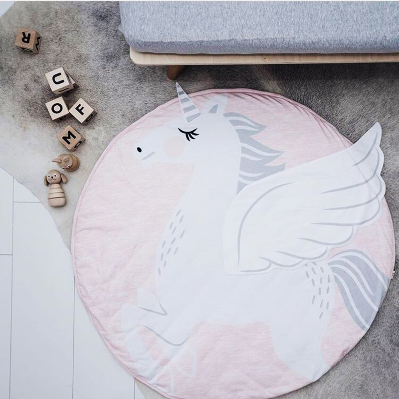 Baby Toy Rug: Baby Pink Unicorn Play Mat Cartoon Cotton Toys Rugs Sweet