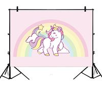 5x7ft Millennial Pink Cartoon Unicorn Colorful Rainbows Polyester Photo Background Portrait Backdrop
