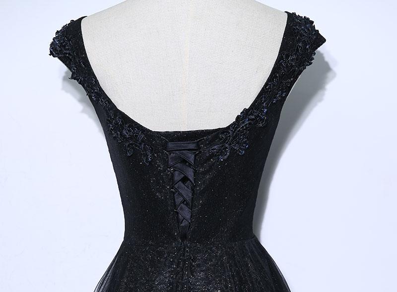 Vintage Negru Mama Rochii de mireasa Aplicatii Margele O linie de - Rochii de seară de nuntă - Fotografie 6