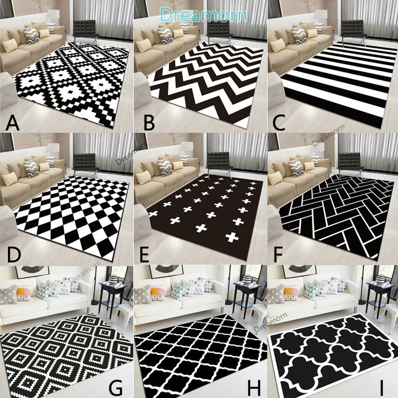 Nordic Geometric Black And White Area Rugs Living Room