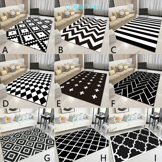 Nordic Geometric Black And White Area Rugs Living Room Bedroom Carpet Minimalist Modern Floor Rug Bedside Balcony Hallway Mats