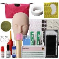19pcs Training Eyelashes Kit False Eyelash Extension Grafting Practice Curl Glue Tweezer Tools Set Bag Pro Eye Lash Graft