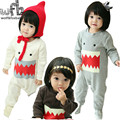 Retail 1-3years 3 colors long-Sleeved Baby boys romper big mouth kids Infant jumpsuits Clothing fashion spring fall