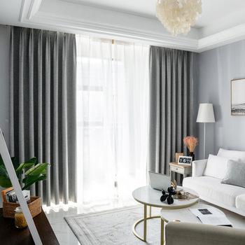 Faux Linen High Density Thermal Insulated Soundproof Blackout Curtain (2 curtains) Insulated Thermal Curtains