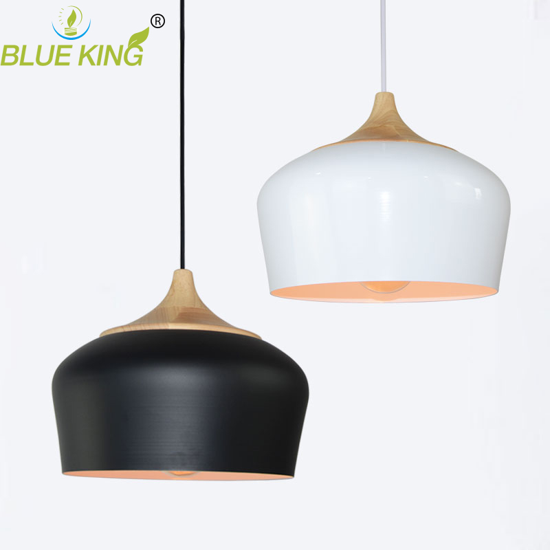 Modern Pendant Lights with oak Wood Aluminum Lamp Restaurant Bar Coffee Dining Room LED Hanging Light Fixture black white купить