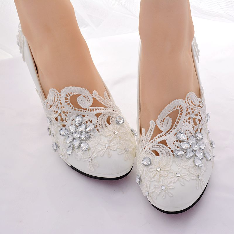Handmade plus size lace crystal ivory wedding shoes bride woman HS388 ladies party proms dress bridesmaid pump women wedding shoes flat heel round toes plus size bride shoes lady female sweet lace pearls proms dress evening party shoes