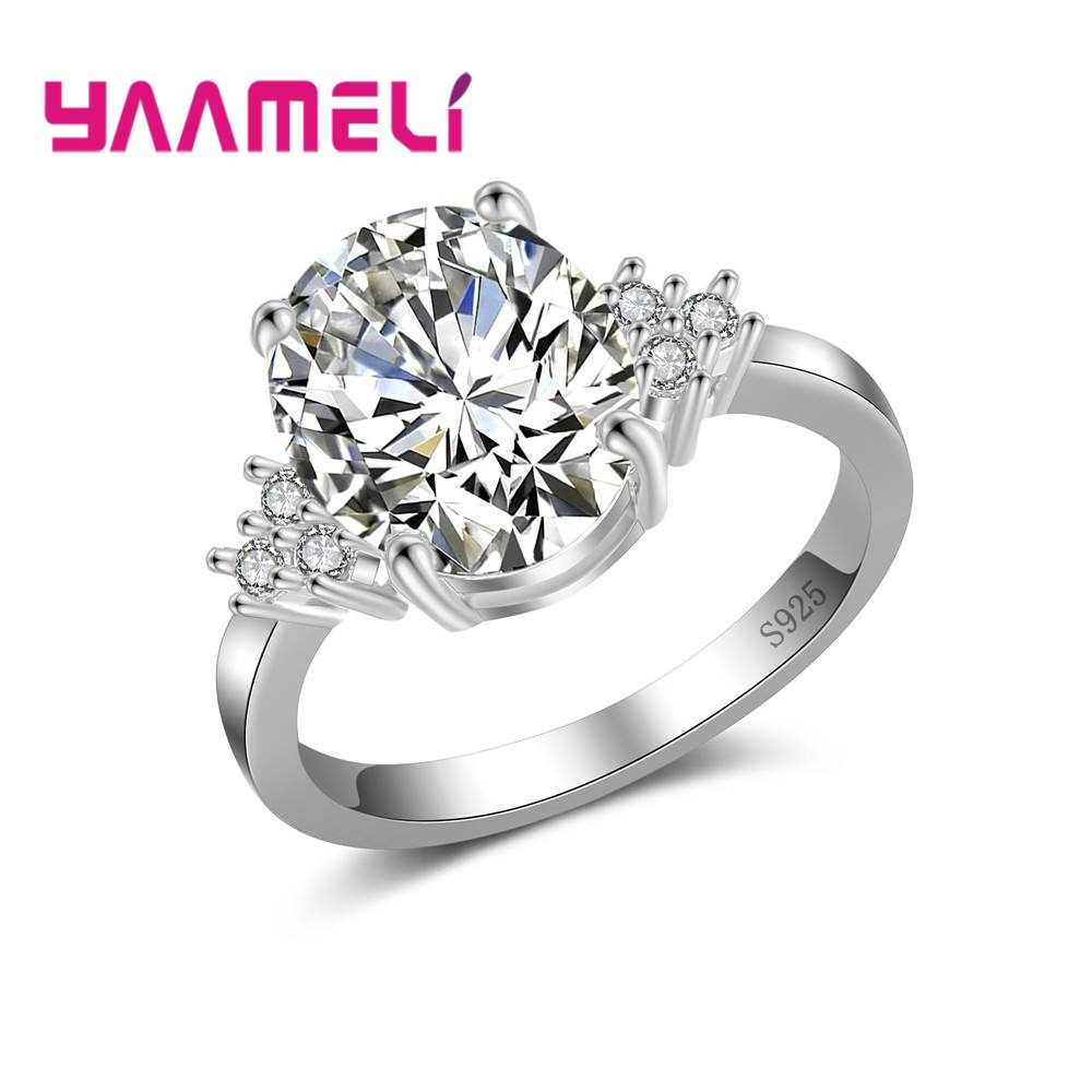 Lowest Price 925 Sterling Silver Crystal Jewelry For Women Female Wedding Finger Rings Hard Cubic Zirconia Decoration